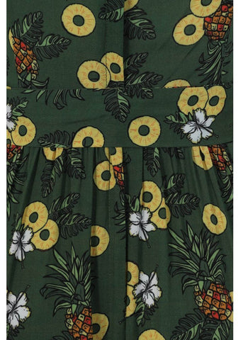 Collectif Giselle Pineapple Slice 60's Swing Dress Green