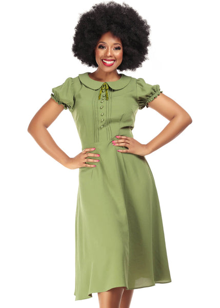 Collectif Giannina 40's Swing Dress Green