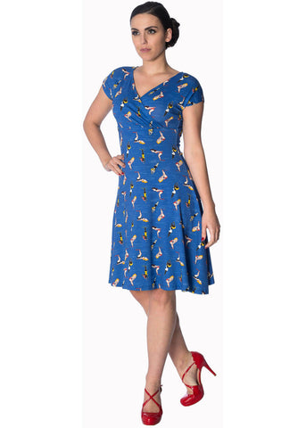 Banned Dive In 60's Dress Blue