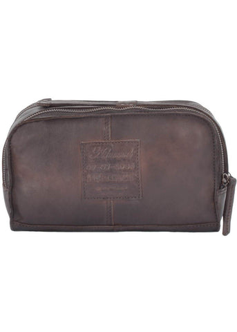 Ashwood Jason Leather Wash Bag Rust
