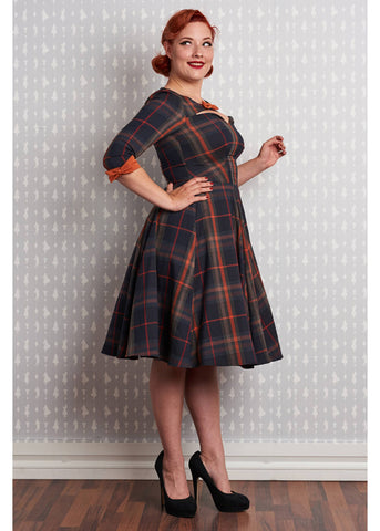Miss Candyfloss Basil Tartan 50's Swing Dress Brick Orange