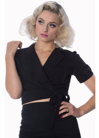 Banned Happy Days Wrap Top Black