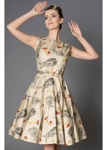 Victory Parade Rosa Bunnies 50's Swing Dress