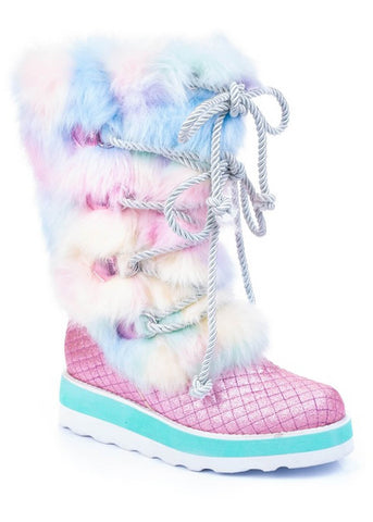 Irregular Choice Cheese & Beans Boots Pink