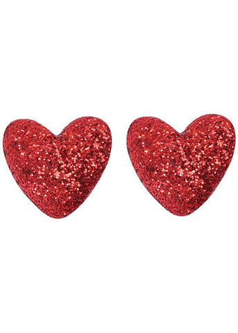 Collectif Kay Lurex Hearts 60's Stud Earrings Red