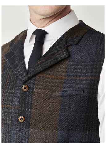 Gibson London Dennis Check Waistcoat Brown Blue