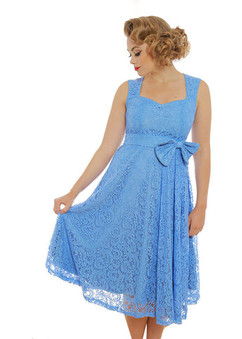 Lindy Bop Grace Lace 50's Swing Dress Light Blue