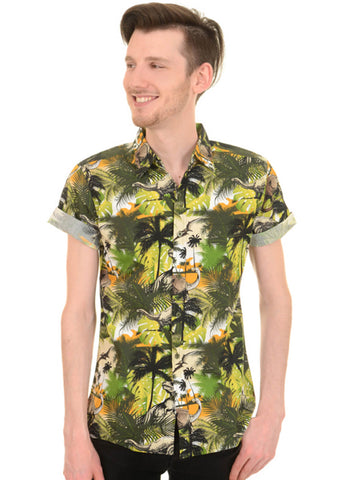 Run and Fly Gentlemens Dinosaur Jungle Shirt Green