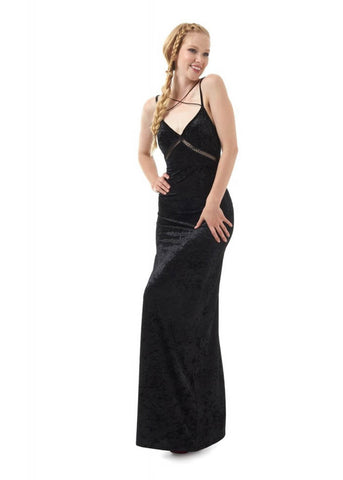 Bright & Beautiful Gigi Velvet 70's Maxi Dress Black