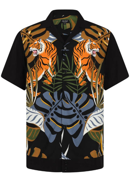 Hell Bunny Men Tiger 50's Shirt Black