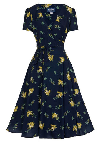 Collectif Wilhelmina Buttercup Floral 40's Wrap Dress Navy