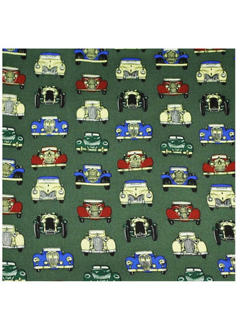 The Tie Studio Vintage Cars Handkerchief Silk Green