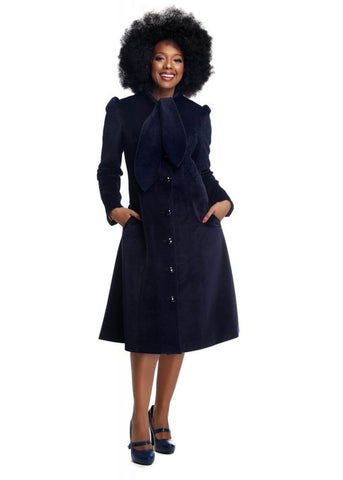 Collectif Lena Velvet 40's Coat Navy