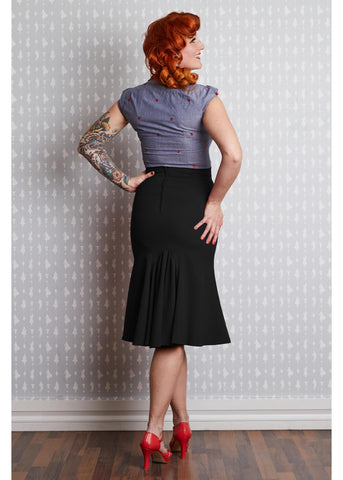 Miss Candyfloss Gillian Lou 40's Trumpet Skirt Black