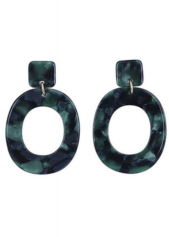 Collectif Kay Hoop 60's Earrings Green