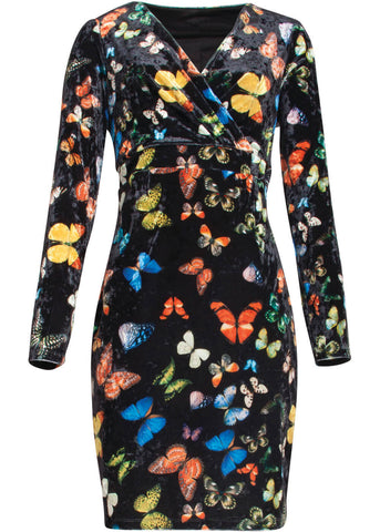 Smashed Lemon Velvet Butterfly 60's Dress Black