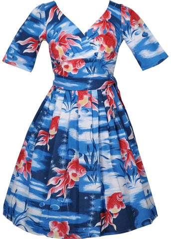Victory Parade Day Goldfish 50's Dress Blue