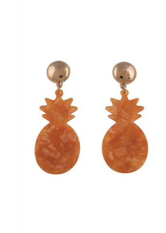 Collectif Marble Pineapple Earrings Orange