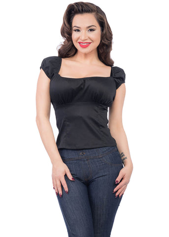 Steady Clothing Bonnie Bumpkin 50's Top Black