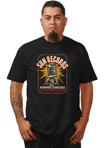 Rock Steady Mens Sun Record Electric Mic T-Shirt Black