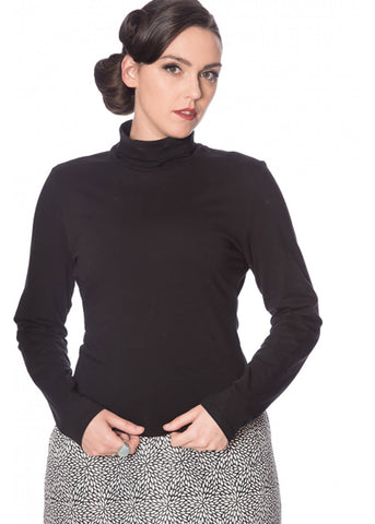 Banned Jersey 60's Turtle Neck Top Black