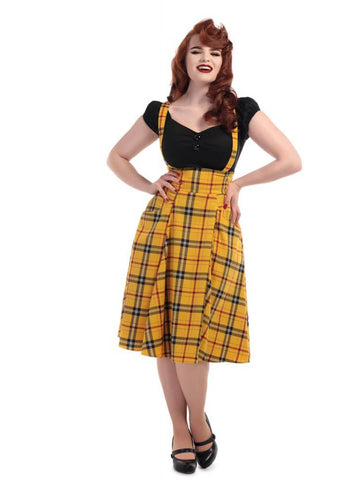 Collectif Alexa Clueless 60's Swing Skirt Yellow