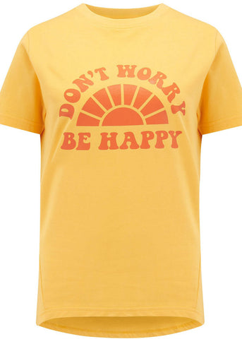 Sugarhill Boutique Mimi Don't Worry Be Happy 60's T-Shirt Yellow