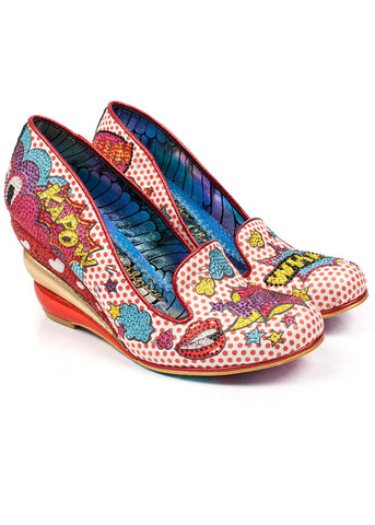 Irregular Choice Wow Pow Wedges Red