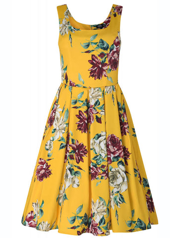 Dolly & Dotty Amanda Rose 50's Swing Dress Yellow