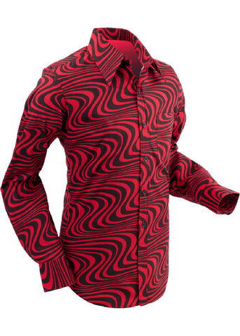 Chenaski Mens Shirt Wavyline Red Black