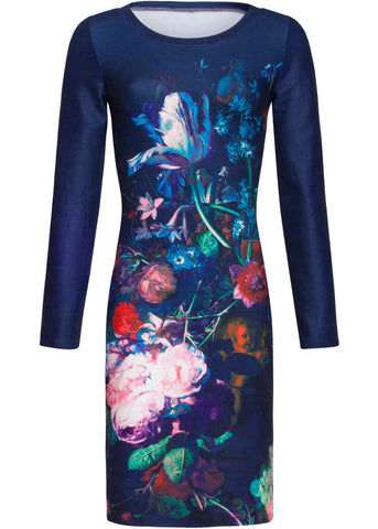 Smashed Lemon x Rijksmuseum Still Life Flowers & Fruit Pencil Dress Black Multi