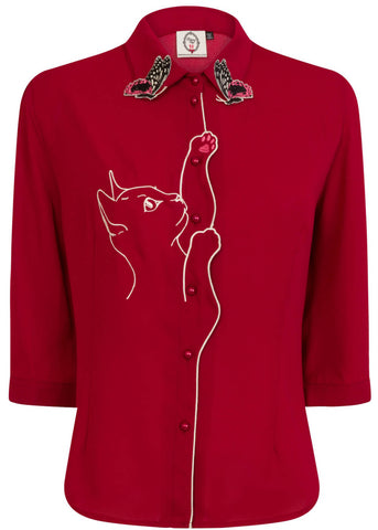Banned Snow Bird Cat Blouse Bordeaux Color