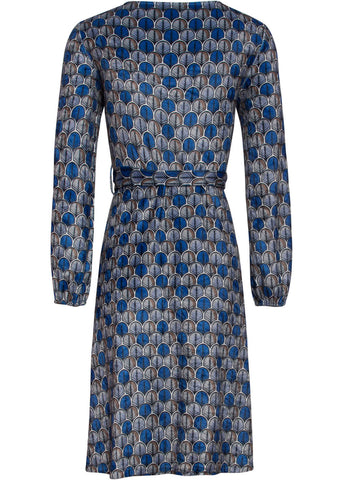 Smashed Lemon Autumn Fan 60's A-Line Dress Cobalt