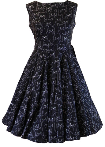 Victory Parade Rosa Black Cat 50's Dress