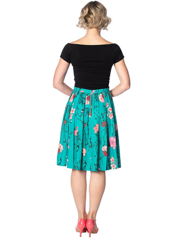Banned Peacock Baroque Swing 50's Skirt Teal