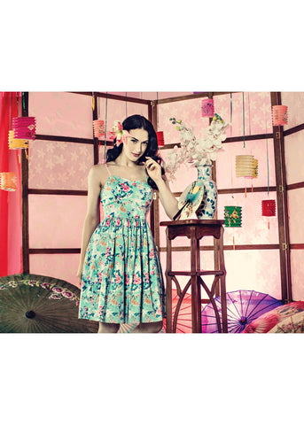 Hell Bunny Sakura Mid 50's Swing Dress Aqua