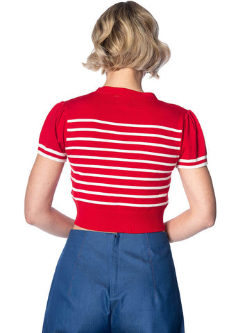Banned Sailor Stripe Tie 50's Top Red