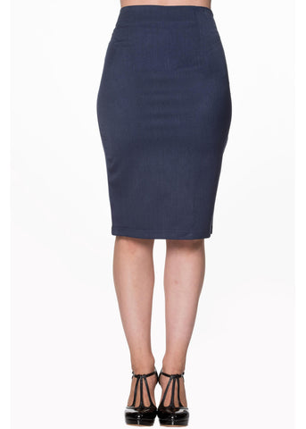 Banned Paula 50's Pencil Skirt Blue