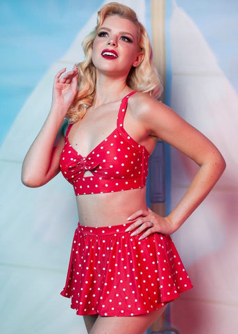 Collectif x Playful Promises Polkadot Knot 50's Bikini Briefs Skirt Red