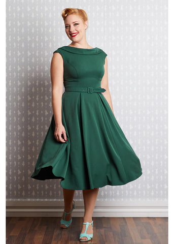 Miss Candyfloss Arista Gia 50's Swing Dress Emerald Green