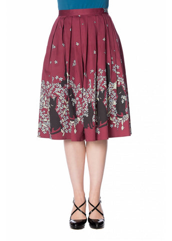 Banned Black Cat Bloom 50's Swing Skirt Burgundy