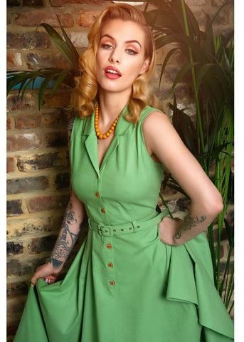 Collectif Caterina 50's Sleeveless Swing Dress Green