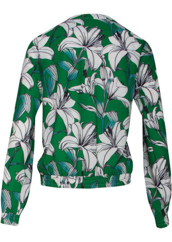 Smashed Lemon Freshly Planted Floral Bomber Jacket Green