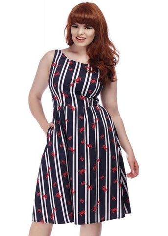 c262b295d04 Collectif Ginevra Crabs And Stripes 60 s Swing Dress Multi