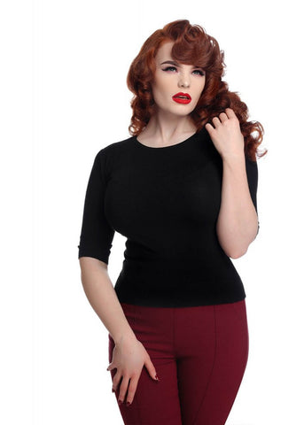 Collectif Chrissie Knitted 60's Plain Top Black
