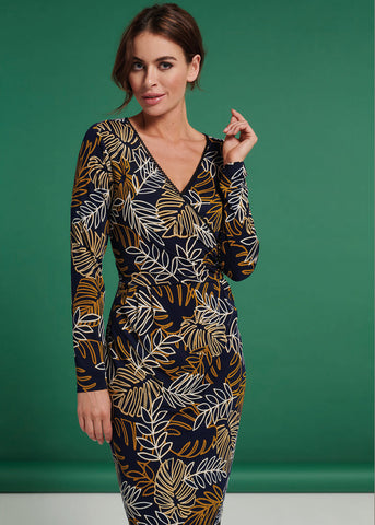 Smashed Lemon Seperate Leaves 60's Pencil Dress Navy Mustard