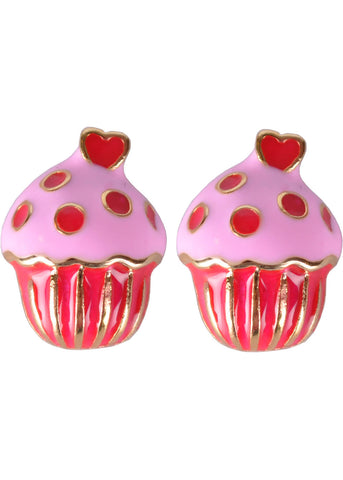 Succubus Cupcake Glossy Earrings Hot Pink
