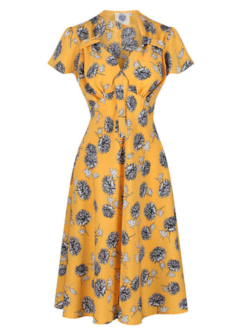 Pretty Retro Tea Dandelions 40s Dress Gold