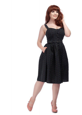 Collectif Jemima Polkadot 50's Swing Dress Black