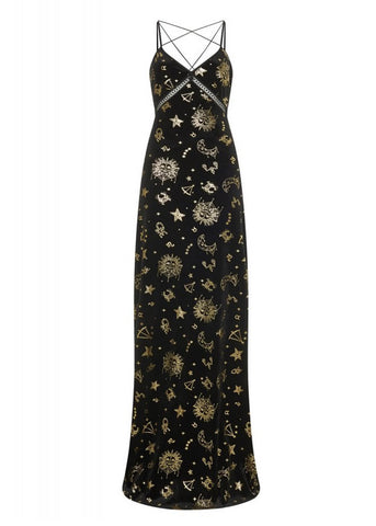 Bright & Beautiful Gigi Zodiac Velvet 70's Maxi Dress Black